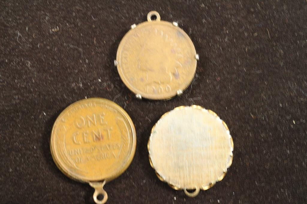 3 ASSORTED PENDANTS 1900 INDIAN HEAD CENT, 1905 - 2