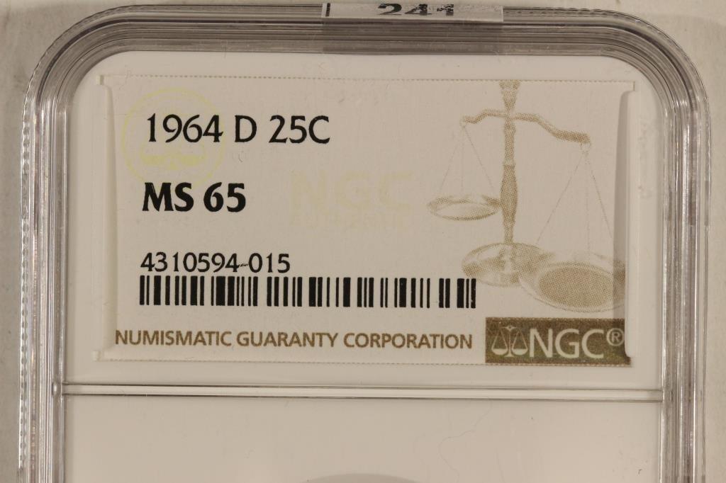 1964-D WASHINGTON SILVER QUARTER NGC MS65 - 3