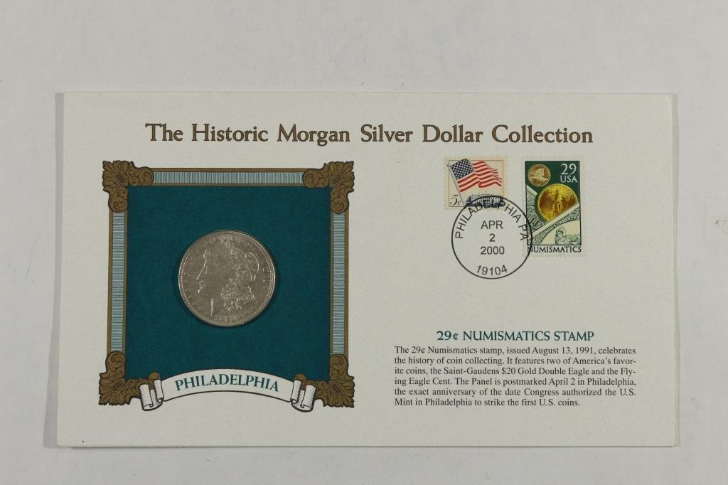 1921 MORGAN SILVER DOLLAR & STAMP SET