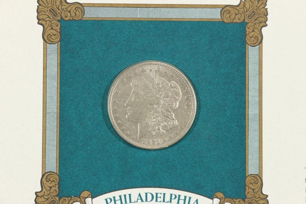 1921 MORGAN SILVER DOLLAR & STAMP SET - 2