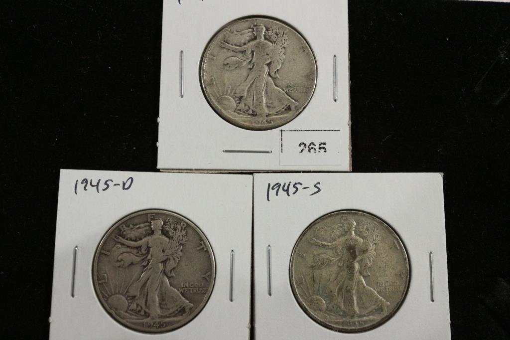 1945-P/D/S WALKING LIBERTY HALF DOLLARS