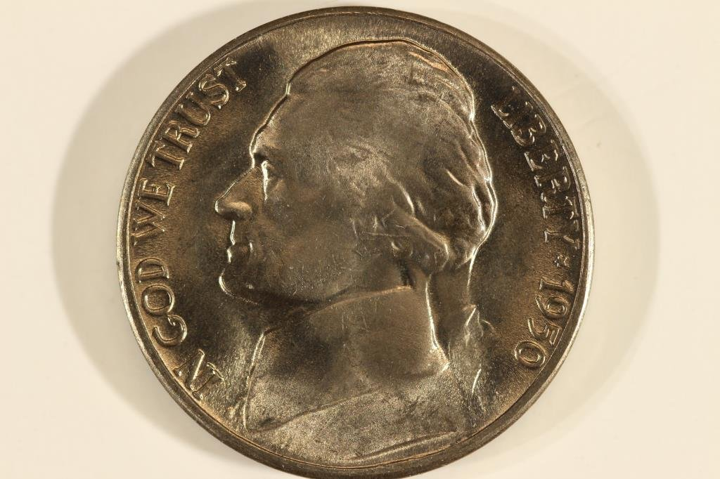 1950-D JEFFERSON NICKEL BRILLIANT UNC