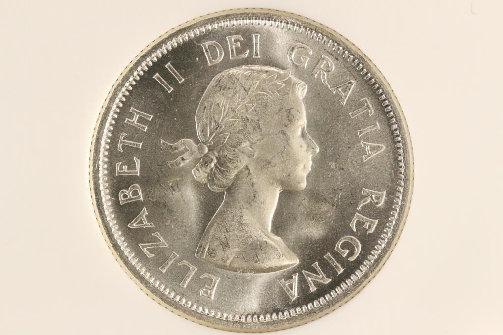 1959 CANADA SILVER 25 CENT NGC MS64