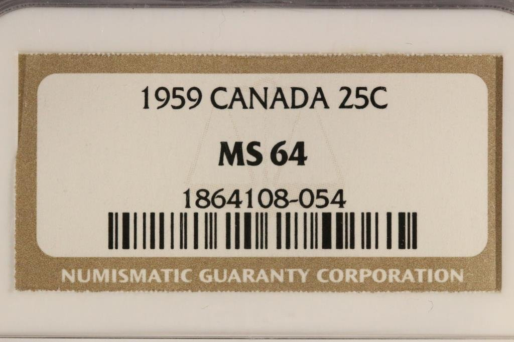 1959 CANADA SILVER 25 CENT NGC MS64 - 3