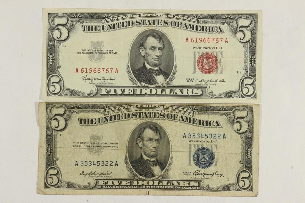 1953 $5 SILVER CERTIFICATE & 1963 $5 US NOTE