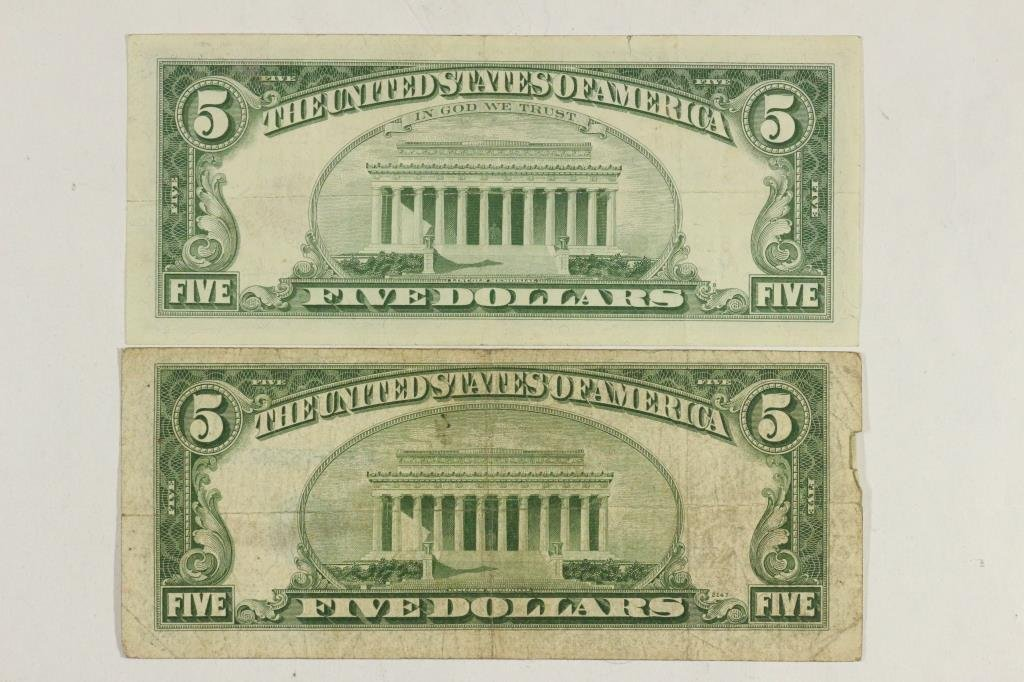 1953 $5 SILVER CERTIFICATE & 1963 $5 US NOTE - 2
