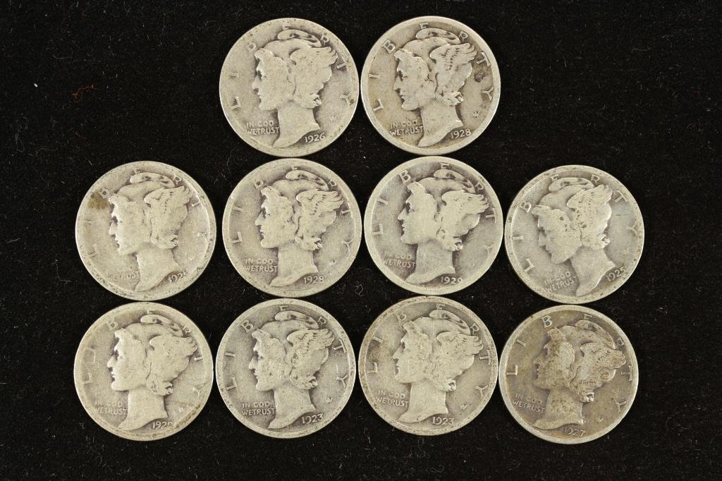 10 ASSORTED 1920'S MERCURY DIMES