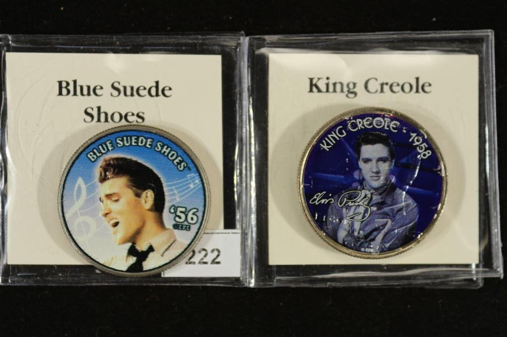 2-ELVIS PRESLEY COLORIZED HALF DOLLARS