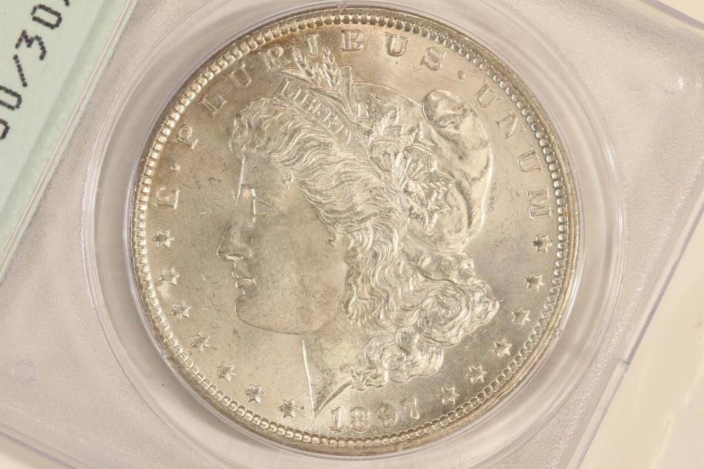 1897 MORGAN SILVER DOLLAR PCGS MS60