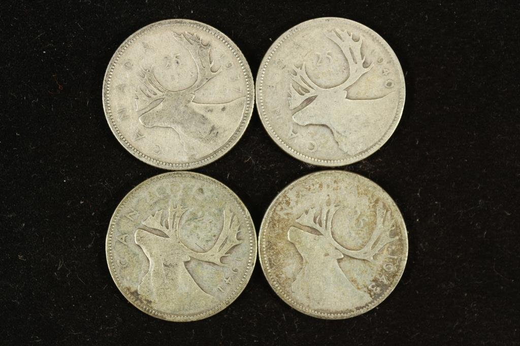 1937,40,41 & 43 CANADA SILVER 25 CENTS