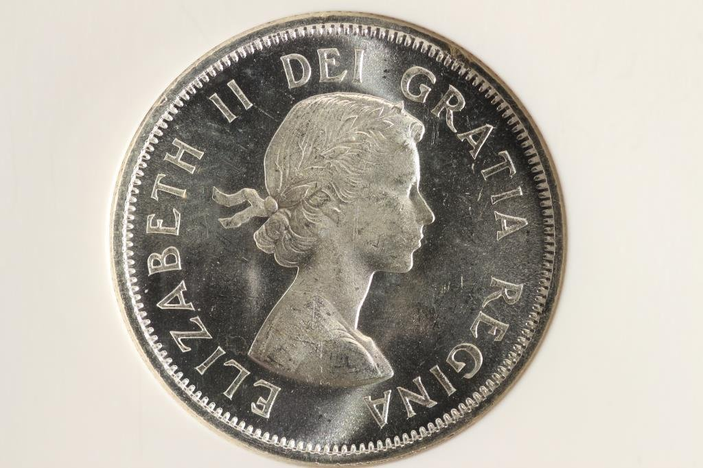 1959 CANADA SILVER 25 CENTS NGC MS65