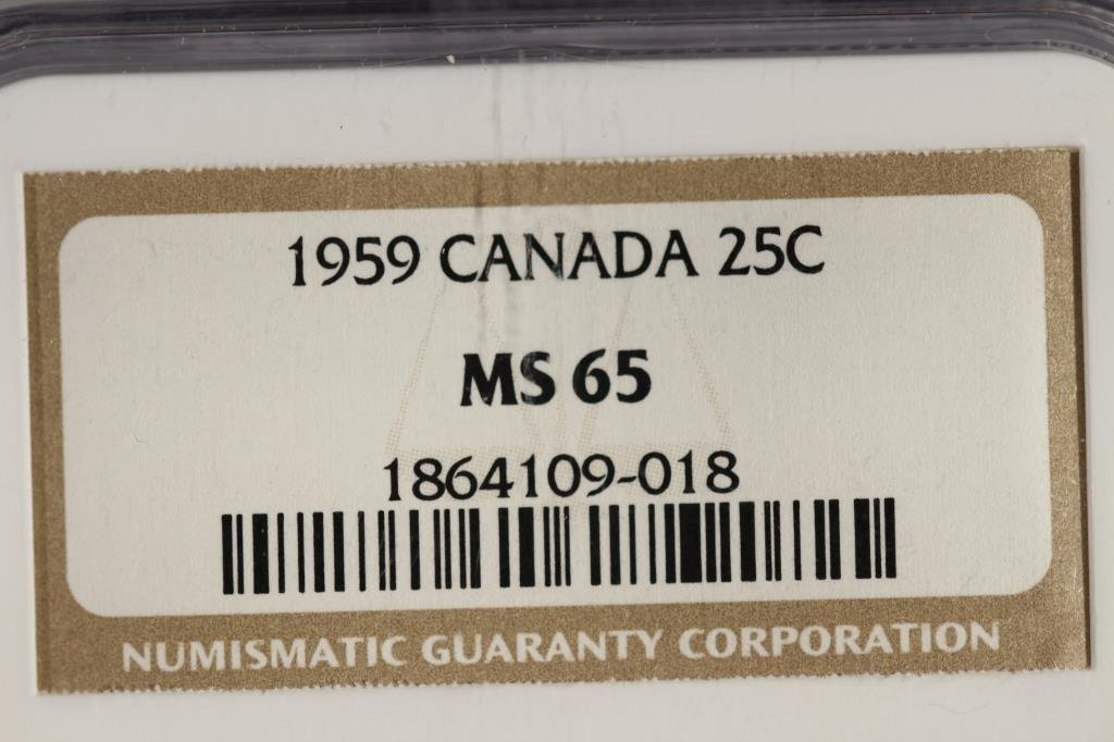 1959 CANADA SILVER 25 CENTS NGC MS65 - 3