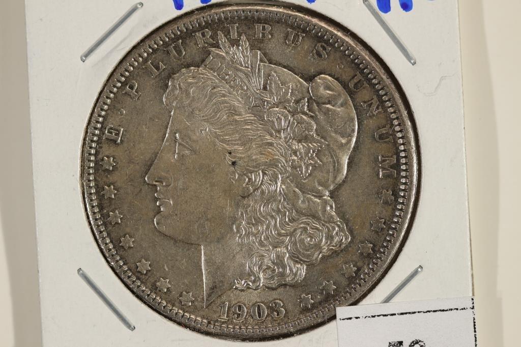 1903-P MORGAN SILVER DOLLAR AU SCRATCHED REV.