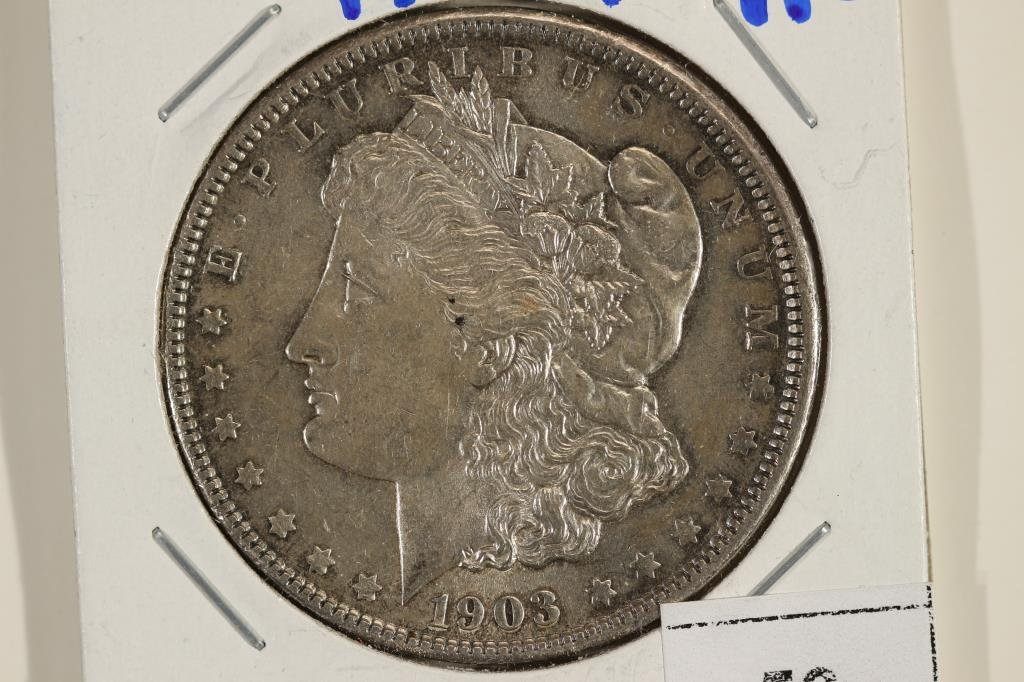 1903-P MORGAN SILVER DOLLAR AU SCRATCHED REV.