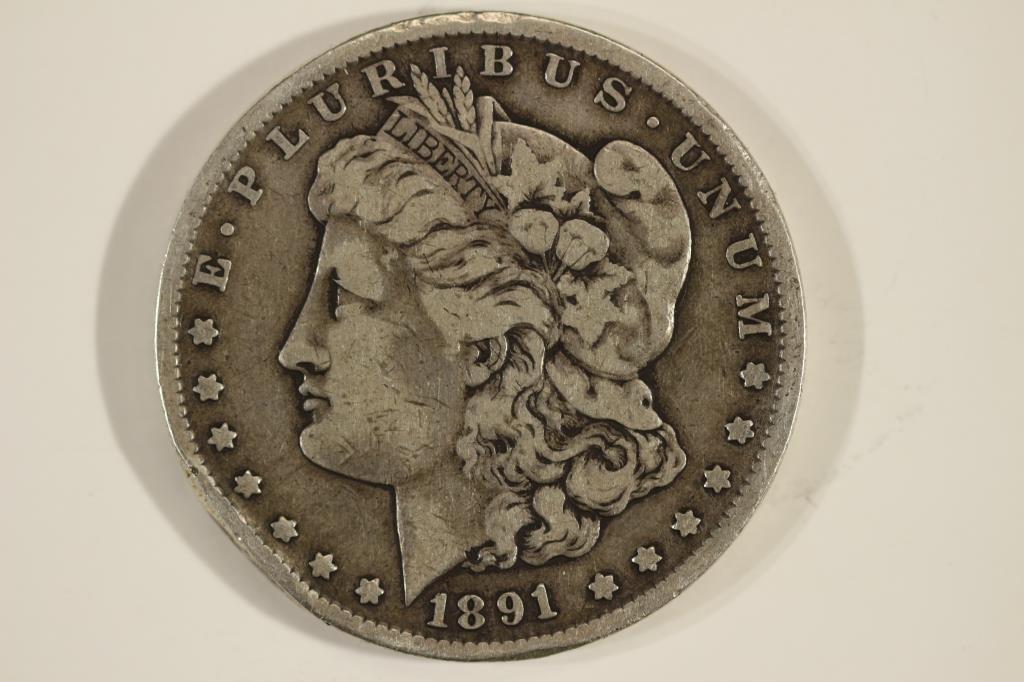 1891-CC MORGAN SILVER DOLLAR RIM BUMP