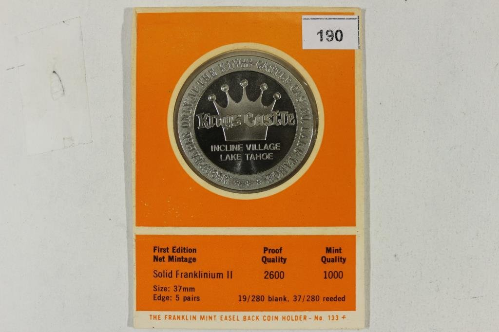 1969 KINGS CASTLE CASINO $1 GAMING TOKEN MINTED - 2