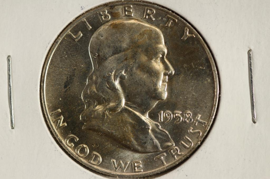 1958-D FRANKLIN HALF DOLLAR UNC REV. TONED