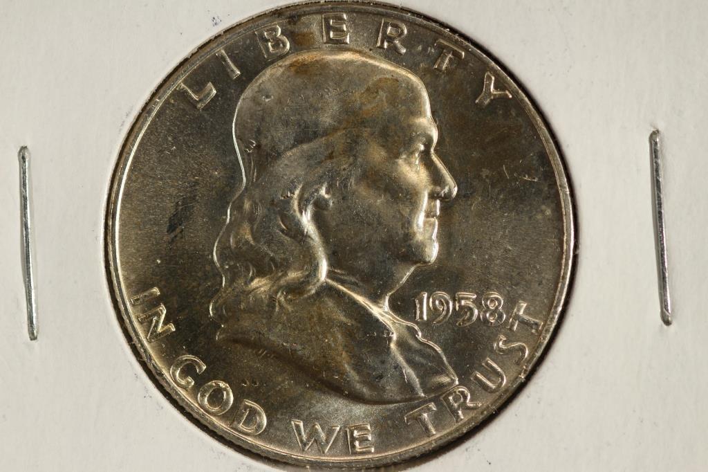 1958-D FRANKLIN HALF DOLLAR UNC REV. TONED