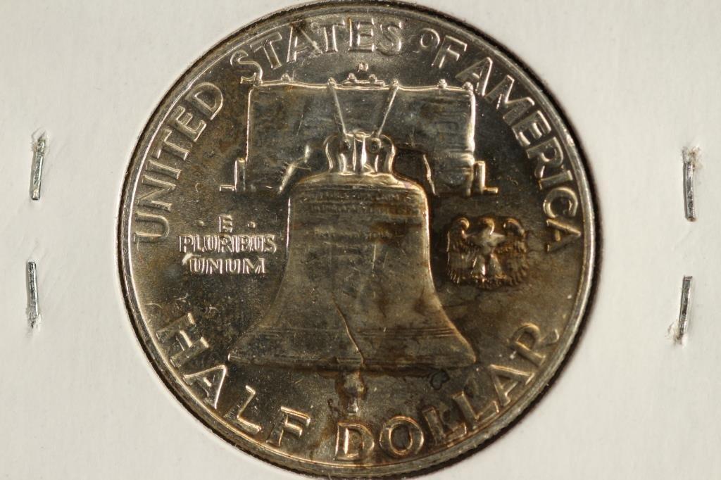 1958-D FRANKLIN HALF DOLLAR UNC REV. TONED - 2