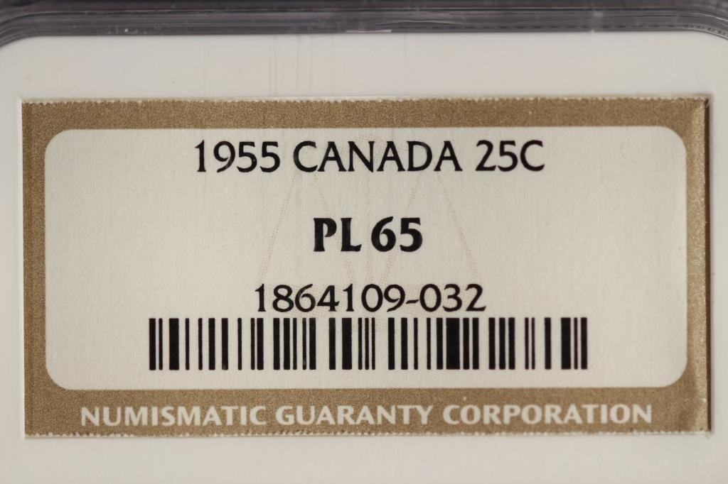 1955 CANADA SILVER 25 CENTS NGC PL65 - 3