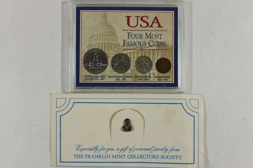 COIN SET & FRANKLIN MINT PIN BACK AS SHOWN