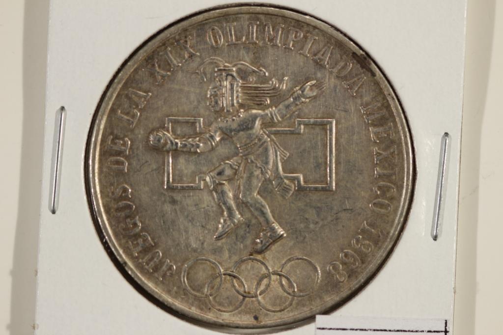 1968 MEXICO OLYMPICS SILVER 25 PESOS .5208 OZ. ASW