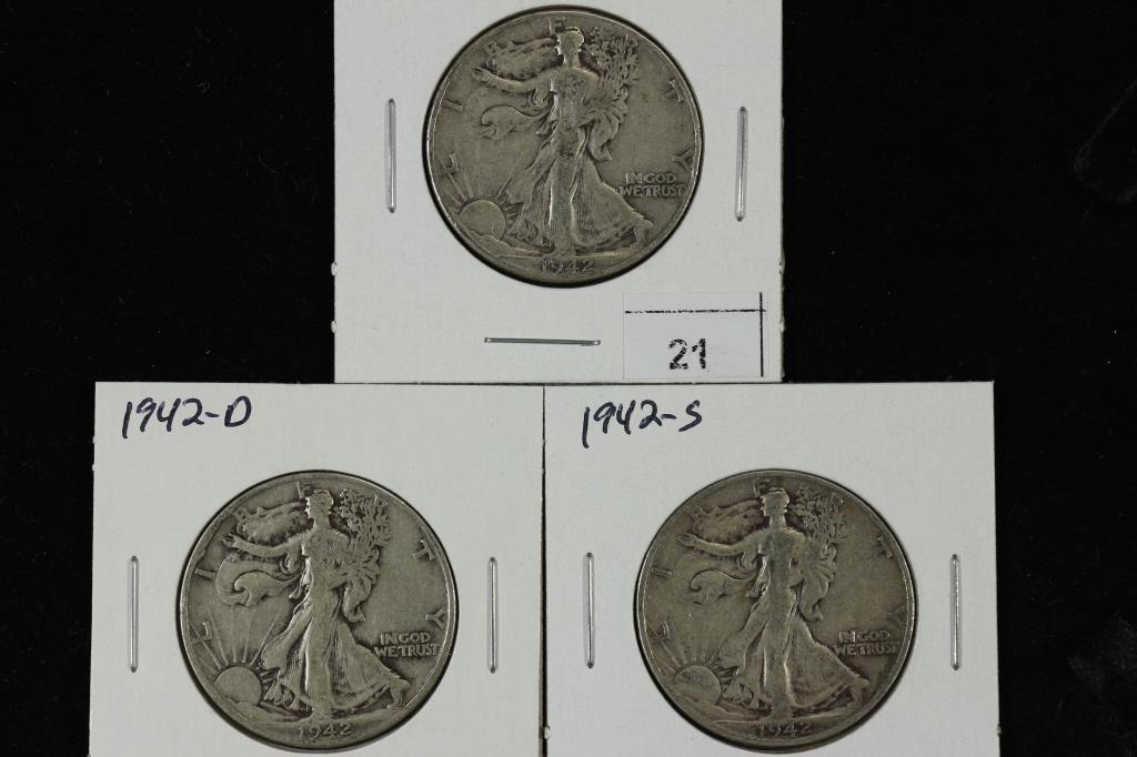 1942 P/D/S WALKING LIBERTY HALF DOLLARS