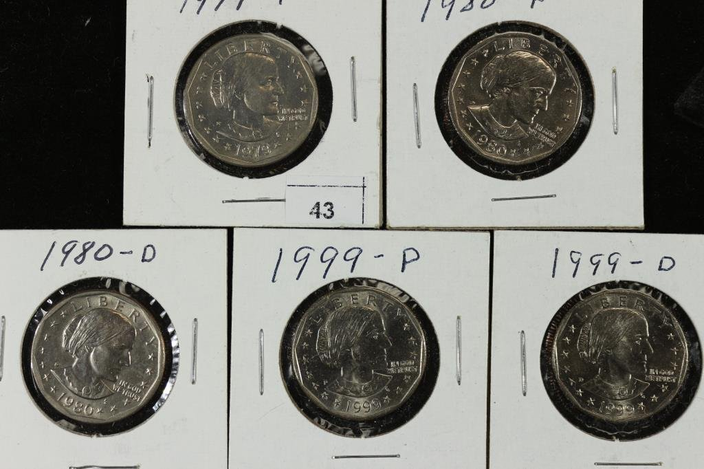 1979-P,80-P,80-D,99-P & 99-D SBA DOLLARS UNC