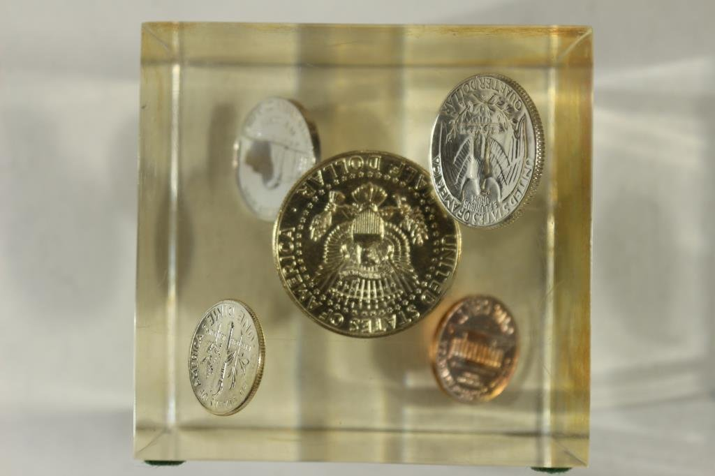 "2 9/16""  COIN CUBE LUCITE PAPERWIEGHT WITH 1964 - 3"