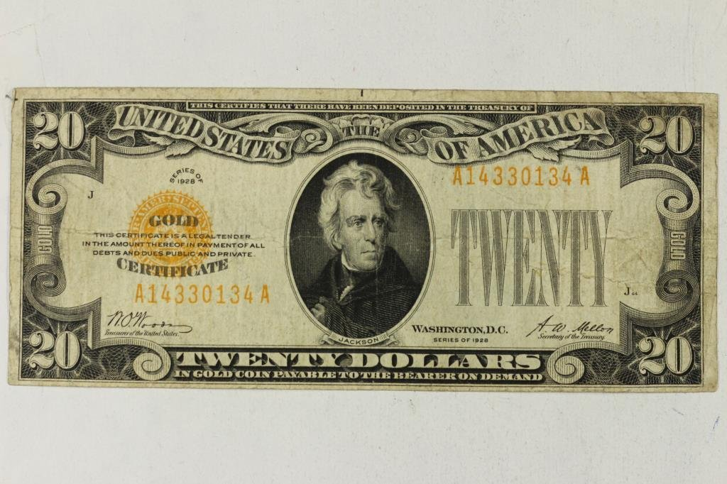 1928 US $20 GOLD CERTIFICATE GOLD SEAL & NUMBERS