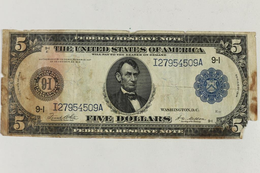 1914 LARGE SIZE $5 FEDERAL RESERVE NOTE BLUE SEAL