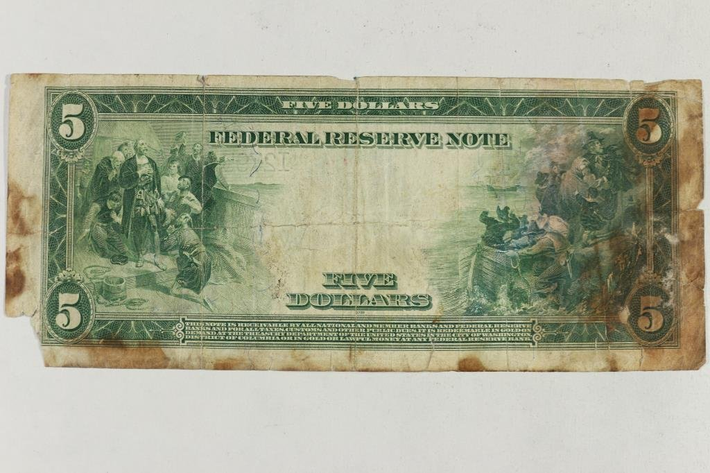 1914 LARGE SIZE $5 FEDERAL RESERVE NOTE BLUE SEAL - 2