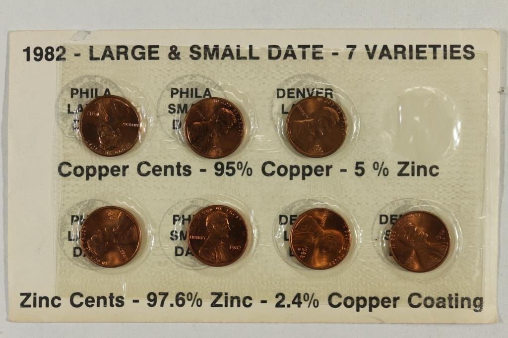 1982-7 VARIETIES LINCOLN CENT SET (UNC)
