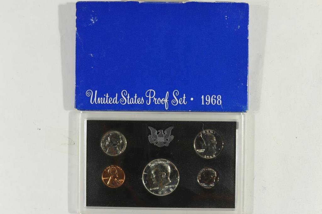 1968 US PROOF SET WITH BOX, 40% SILVER JFK HALF
