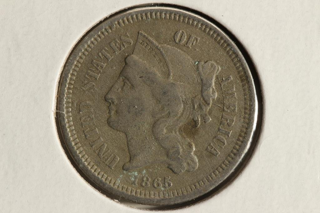 1865 THREE CENT PIECE (NICKEL) WITH VIRDIGRIS