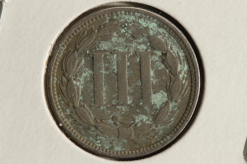 1865 THREE CENT PIECE (NICKEL) WITH VIRDIGRIS - 2