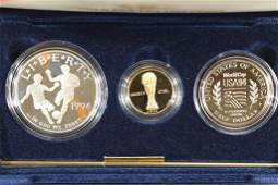 1994 WORLD CUP USA GOLD  SILVER 3 COIN PF SET