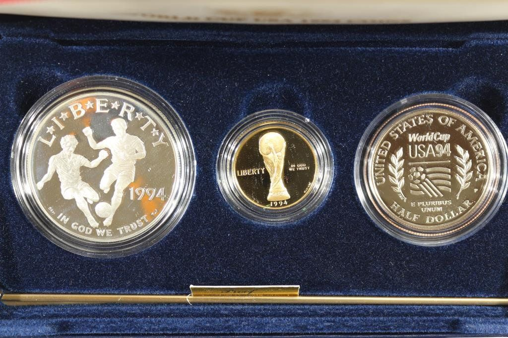 1994 WORLD CUP USA GOLD & SILVER 3 COIN PF SET
