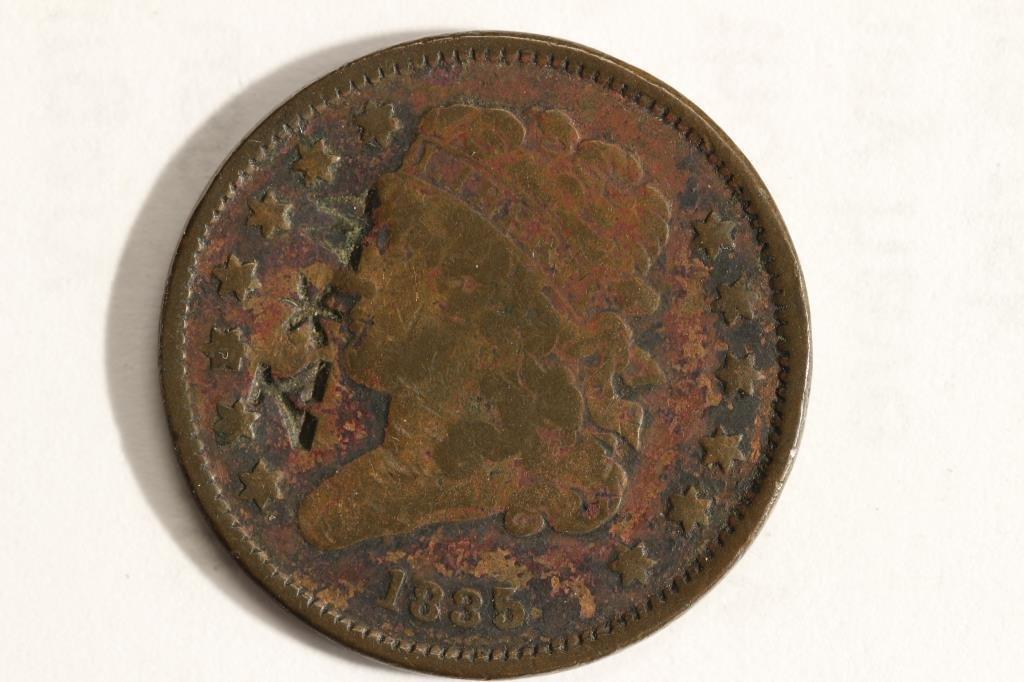 COUNTER STRUCK 1835 US HALF CENT (FINE) W *Y