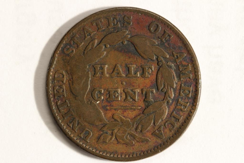 COUNTER STRUCK 1835 US HALF CENT (FINE) W *Y - 2