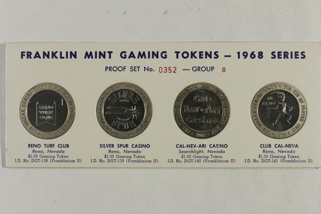 1968 FRANKLIN MINT GAMING TOKENS PROOF SET