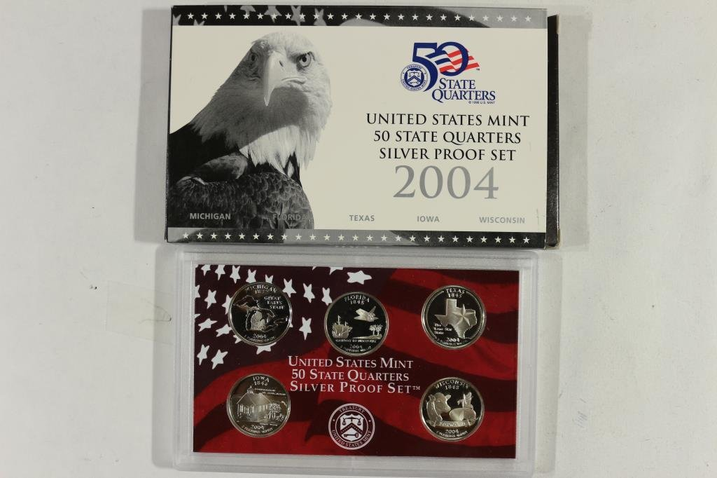2004 SILVER US 50 STATE QUARTERS PROOF SET WITHBOX