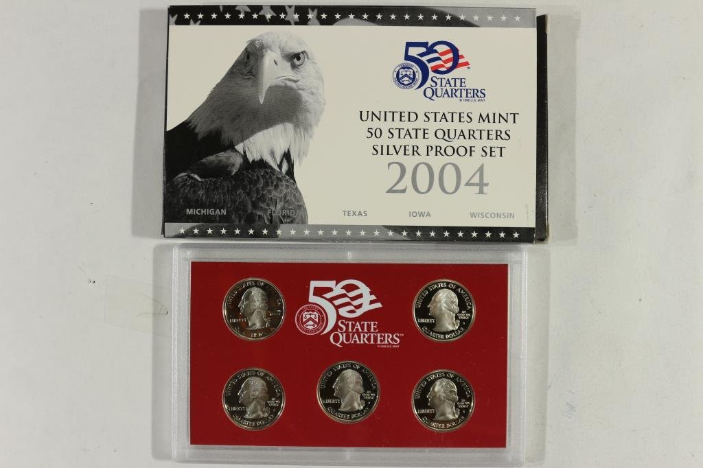 2004 SILVER US 50 STATE QUARTERS PROOF SET WITHBOX - 2