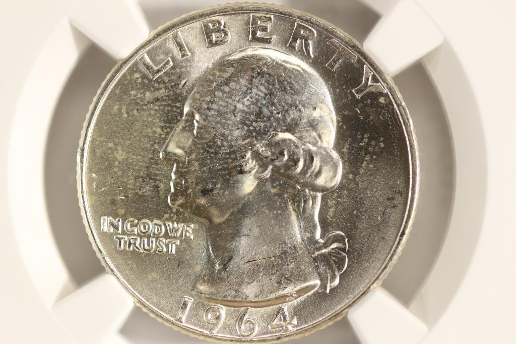 1964-D WASHINGTON SILVER QUARTER NGC MS64