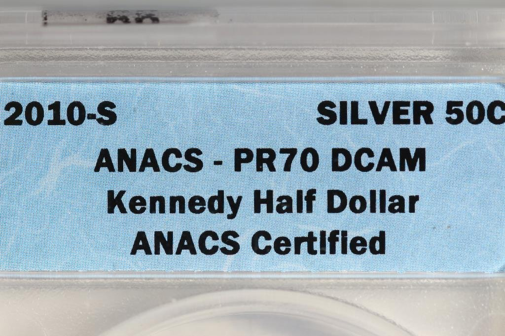 2010-S SILVER KENNEDY HALF DOLLAR ANACS PR70 DCAM - 3