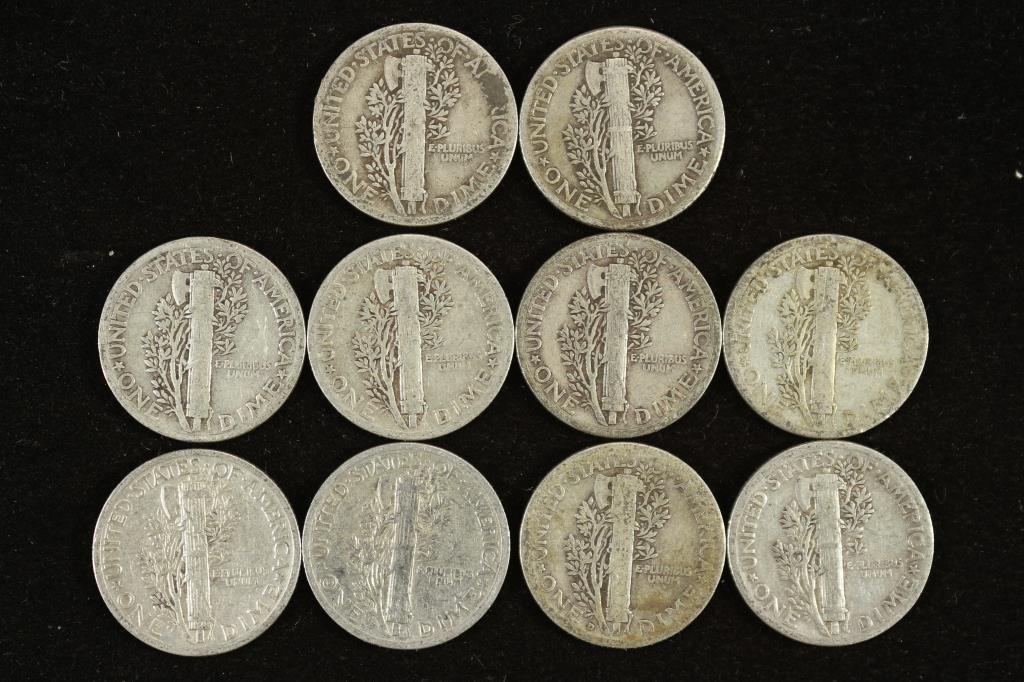 10 ASSORTED 1930'S MERCURY DIMES - 2