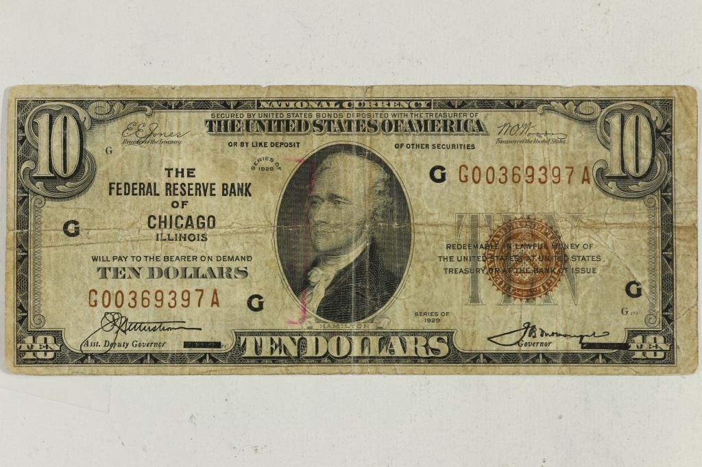 1929 $10 NATIONAL CURRENCY CHICAGO BROWN SEAL