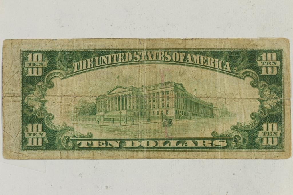 1929 $10 NATIONAL CURRENCY CHICAGO BROWN SEAL - 2