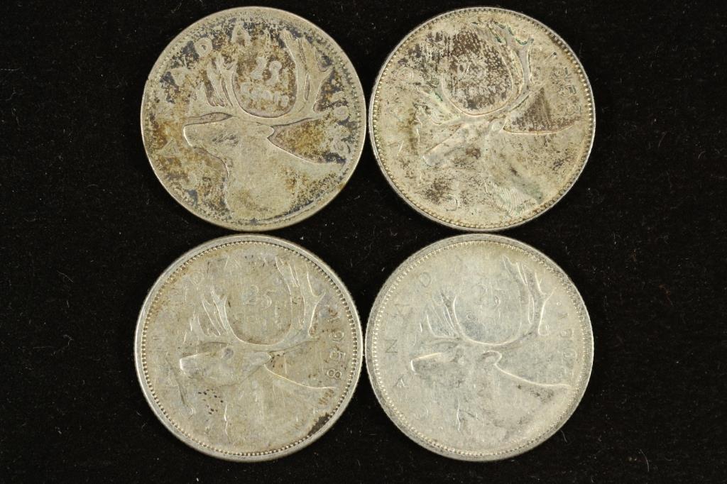 1942,53,58 & 62 CANADA SILVER 25 CENTS