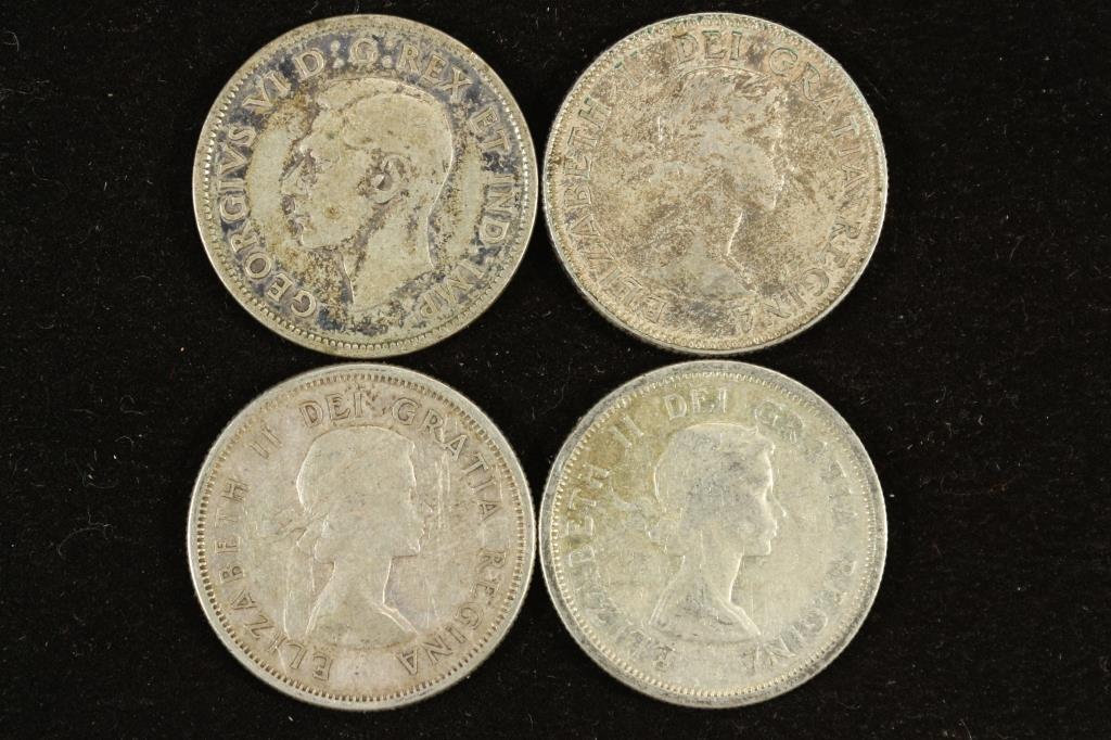 1942,53,58 & 62 CANADA SILVER 25 CENTS - 2